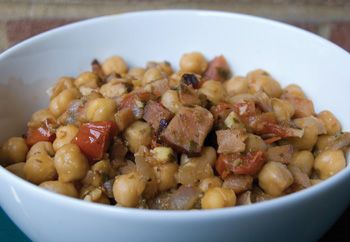 #Ceci con Pancetta e Pomodorini -- Braised #Chickpeas with Pancetta and Tomatoes. Slow-cooking canned chickpeas yields delicious results. In Molise, dried chickpeas are traditionally used.