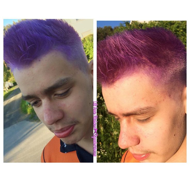 My son finally got his purple hair. Looks pink in the sunlight and purple in shadow. Awesome.