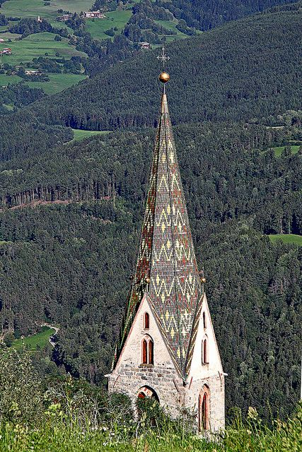 'High on a Hill~Country Church in Italy!' - 'ALTO ADIGE Villandro Bz ITALY frammento Campanile chiesa paese fragment Campanile country church' #places #churches #cross #trees #country #Italy