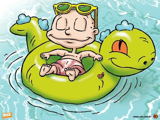 Tommy on a reptar floatie