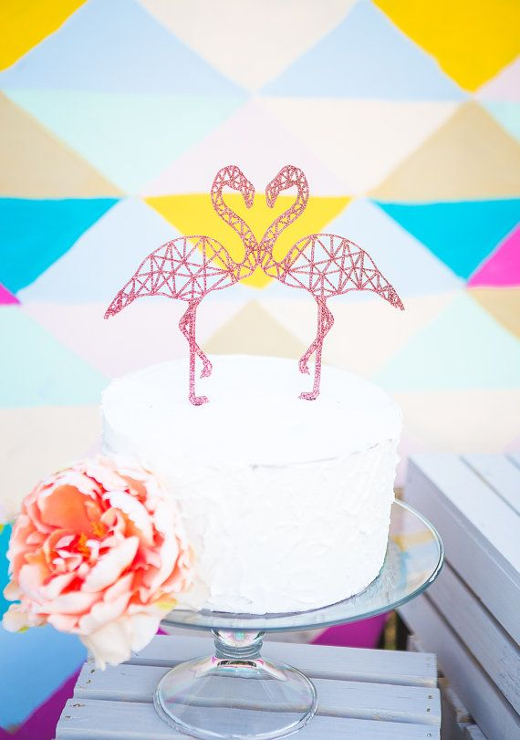 This geometric flamingo cake topper is made in sparkling glittered acrylic or wood! This flamingo decoration is a fun and very unique touch for
