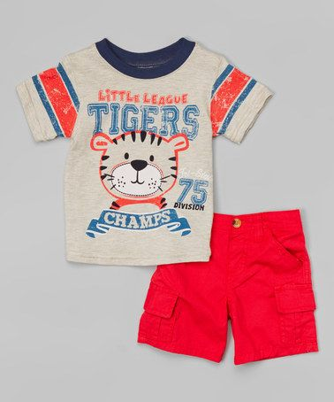 Another great find on #zulily! Beige 'Little League Tigers' Tee & Red Shorts - Infant #zulilyfinds