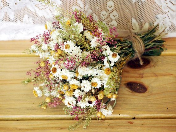 Dried Flower Bouquet - For a Rustic Country Wedding - Almost the vision I have, but not quite