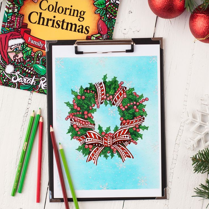 """Check out this coloring page from """"Coloring Christmas""""   Colored by Debbie Schroeder. Get the coloring book at www.sarahrenaeclark.com #christmas #coloringbook"""