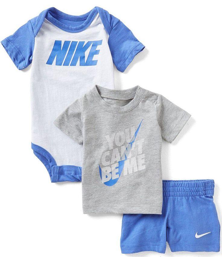 Nike Baby Boys Newborn-12 Months Bodysuit, Tee & Shorts Set https://presentbaby.com