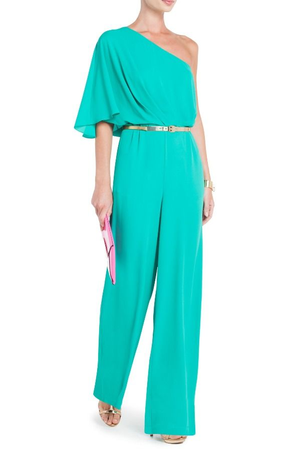 BCBG Leeo Draped One Shoulder Jumpsuit in Turquoise