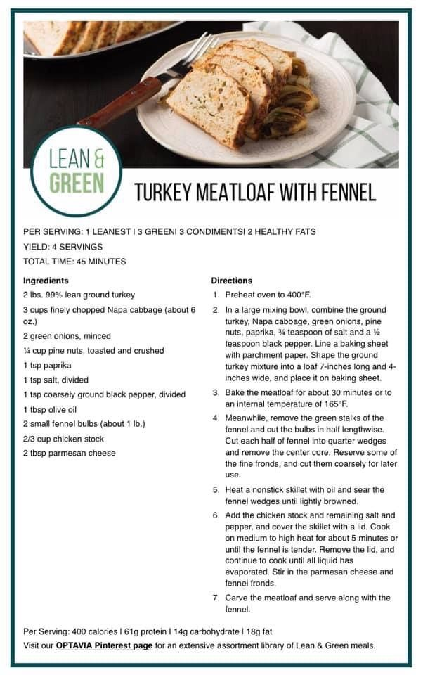 Turkey Meatloaf with Fennel   Lean protein meals, Medifast recipes, Lean  eating