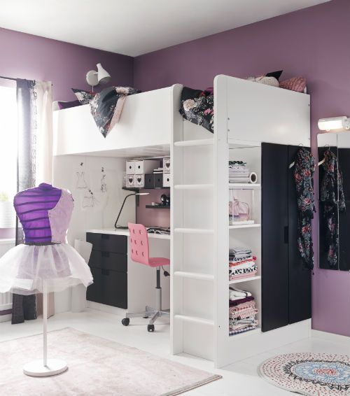 Sleeping, working, storage and wardrobe space - you have space for it all with the STUVA loft bed.