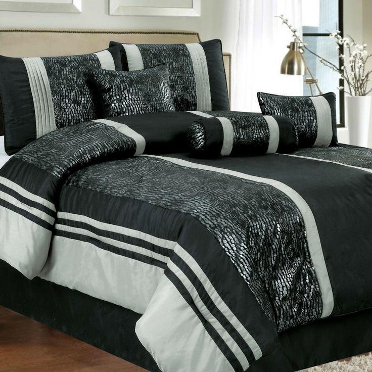 7piece queen eudore comforter set in black beyond the rack