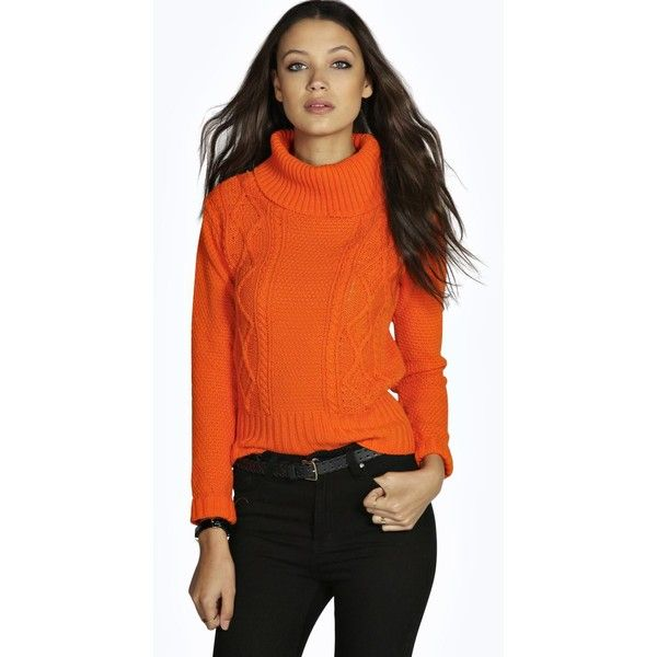 Boohoo Tall Tall Cosette Cable High Neck Knitted Jumper ($30) ❤ liked on Polyvore featuring tops, sweaters, burnt orange, orange top, cable jumper, orange crop top, layered sweater and high neck sweater