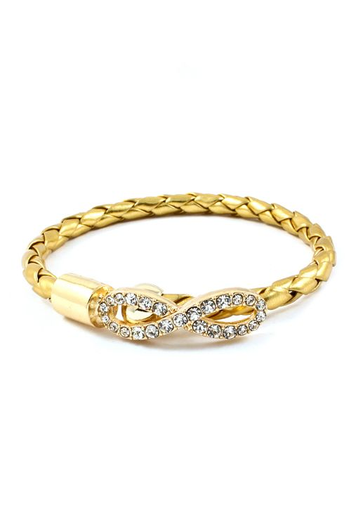 Crystal Infinity Bracelet in Gold on Gold $38