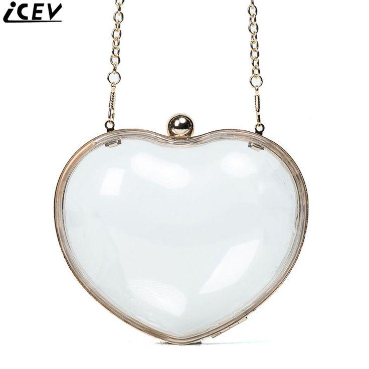 ICEV new designer top handle bags transparent heart-shaped clip shoulder bag lady evening party clutch mini chain messenger bags #Affiliate