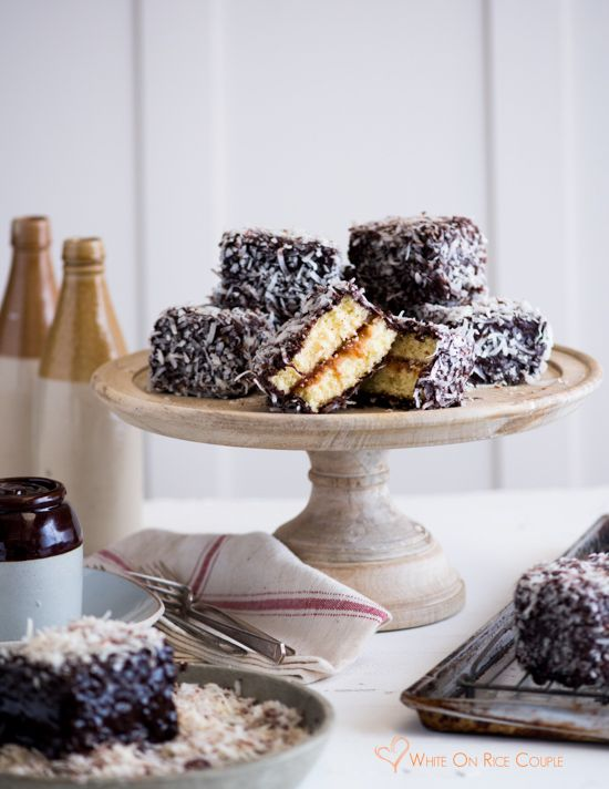 Australian Lamington Cake Recipe Sponge Cake Filled With Jam Dipped In Chocolate And Dried