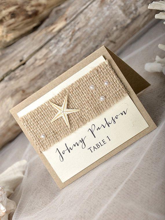 Rustic Beach Wedding Place Cads(20), Beach Place cards, Seashell escort Crads, Rustic beach Name Card, Beach tented cards,