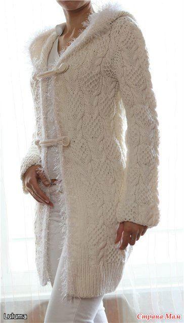 Белое пальто с капюшоном - Вязание - Страна Мам
