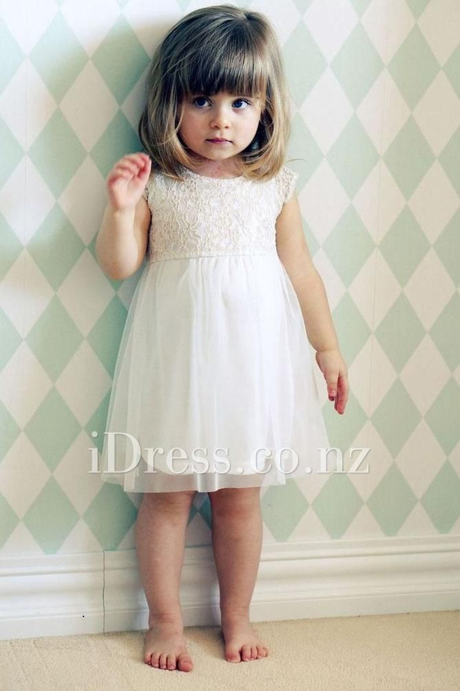 ivory lace and chiffon short sleeve toddler flower girl dress