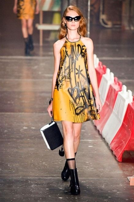 Ellus 2nd Floor - robe trapèze jaune motif noir