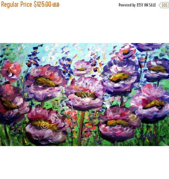 te koop originele Abstract olieverfschilderij bloemen palet