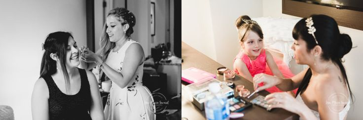 Bride preparation getting ready in hotel room. Getting hair make up done putting dress shoes on. Mariage champêtre extérieur rustique chic DIY hôtel Georgesville Saint-Georges de Beauce |Lisa-Marie Savard Photographie |Montréal, Québec |www.lisamariesavard.com