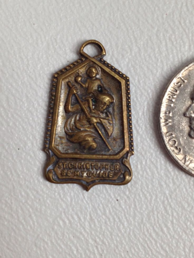 Religious Medal. St Christopher Medal. vintage catholic medal. St Christopher Be My Guide. Protection Amulet. Roman Catholic Charm by wardrobetheglobe on Etsy