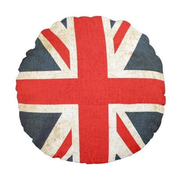 Vintage Union Jack British Flag Round Throw Pillow (£23) ❤ liked on Polyvore featuring home, home decor, throw pillows, decor, union jack home decor, british flag throw pillow and union jack throw pillow