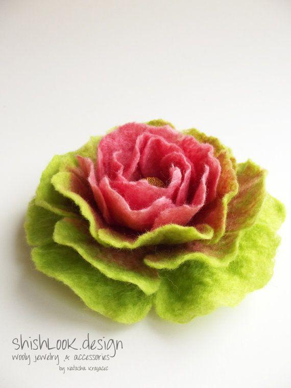 Hand Felted Flower Brooch Wool Felt Jewelry by ShishLOOKdesign, $26.00