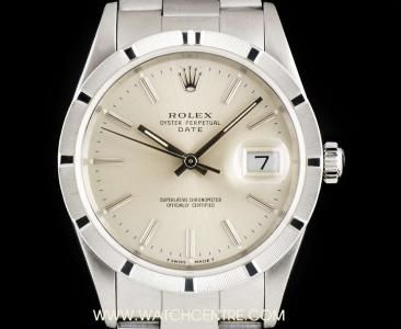 Rolex Stainless Steel Silver Baton Dial Date Gents B&P 15210