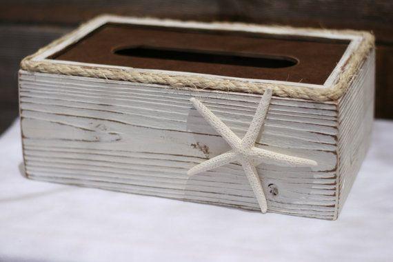 White shabby chic tissue kleenex box holder with starfish coastal bathroom decor. https://www.etsy.com/listing/196996869/tissue-box-cover-holder-rustic-shabby