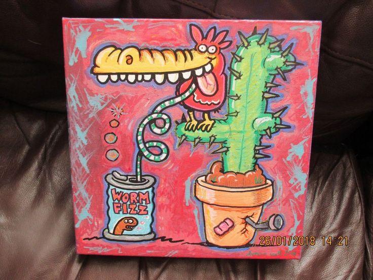 """Original canvas painting """"Worm Fizz"""" by Beano Dandy comic Artist Duncan Scott"""