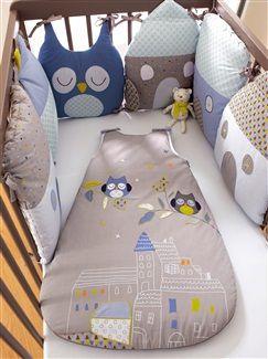Tour de lit modulable bébé thème T'hibou  - vertbaudet enfant