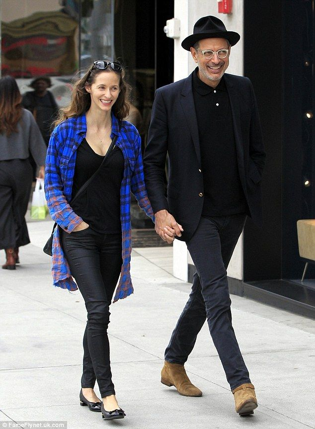 Jeff Goldblum, 63, goes hand-in-hand with wife Emilie Livingston, 33 #dailymail