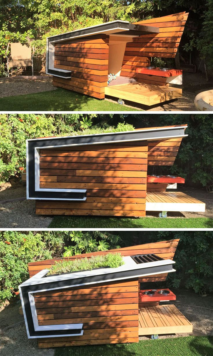 This contemporary dog house was inspired by mid-century modern architectural designs.