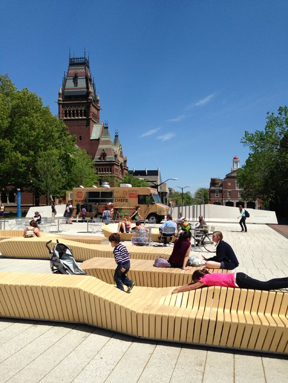 I seem to like benches like these. Their affordability is awesome but comfort for long periods of time might not be so great.. They're perfect for public places - The Plaza at Harvard University | Cambridge USA | Stoss World Landscape Architecture