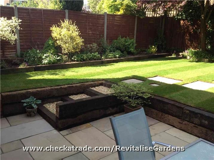 raised lawn and raised border old railway sleepers