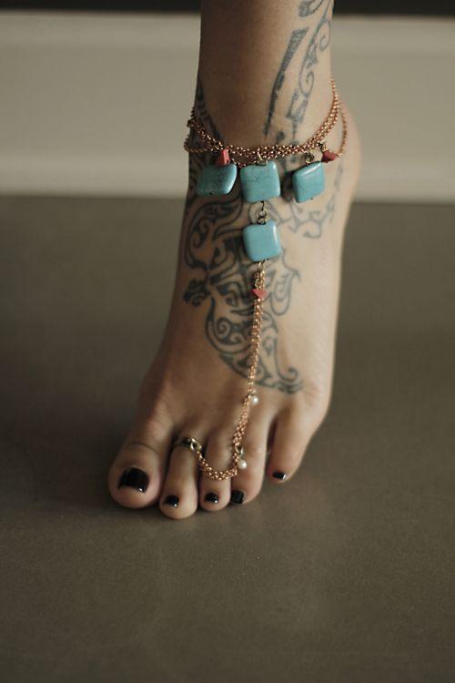 Must find.: Tattoo Ideas, Foot Jewelry, Polynesian Tattoo, Ankle Tattoo, Foot Tattoo, Feet Tattoo, Toe Rings, Henna Tattoo, Ankle Bracelets