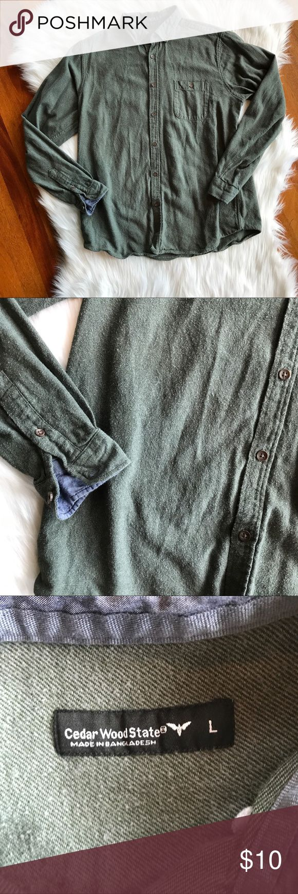 Men's Primark Green Button Down Flannel Good used condition. Minor wear but still has lots of life left. Size men's large from Primark but fits like a men's small. Perfect for upcoming fall weather. All sales final.   🌟No Returns If Item Doesn't Fit - Please Ask For Measurements Instead (Per Posh Rules)  🌟 No Trades Primark Shirts Casual Button Down Shirts