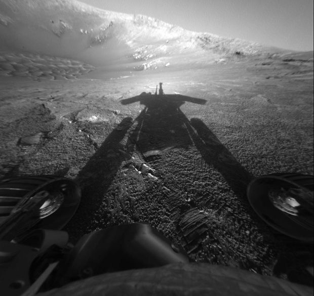 Opportunity catches its shadow.