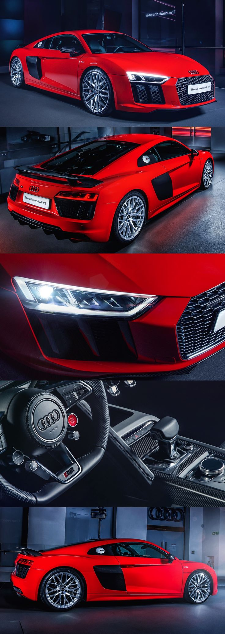 Audi R8 V10 plus - 0-62 mph in 3.2 seconds, 0-124mph in 9.9 seconds, top speed 205mph, combined MPG 23.9