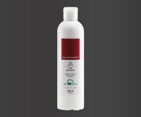 LOCIÓN QUITAMANCHAS  Producto diseñado para la eliminación de las posibles manchas que quedan en la piel tras la aplicación de un tinte capilar. Es una base hidroalcohólica con limpieza y de dispersión de los restos de pigmentación.