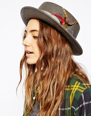 Image 1 of ASOS Deep Felt Pork Pie Hat With Removable Feather