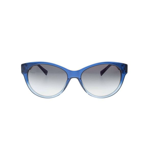 Shiny Blue to Light Blue gradient Acetate Front,Butted End piece,Shiny Black leather texture Temple,Grey gradient Lens with 100% UV protection by Carl Zeiss.