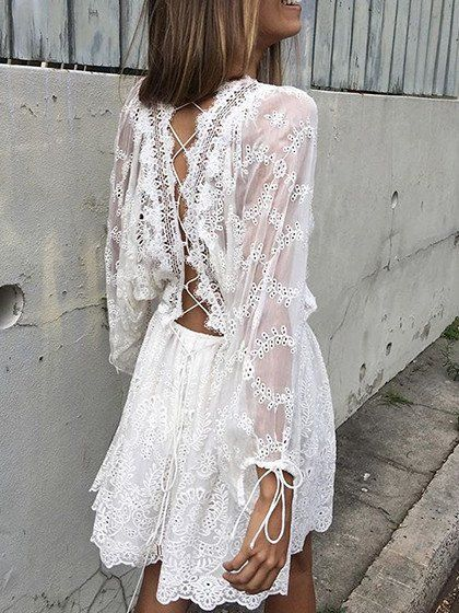 White Lace Up Back Bell Sleeve Lace Dress