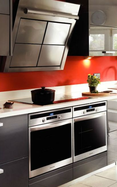 Two built-in ovens side-by-side can give you that range cooker feel. These Rangemaster ovens look great next to the ultra modern Rangemaster Galaxy GLX390 hood.