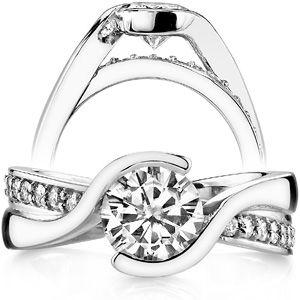Round Brilliant Moissanite Bypass Semi-Bezel Engagement Ring