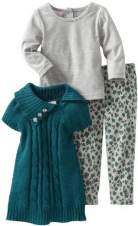 Baby girl clothes#Little Lass#Baby-Girls Infant 3 Piece Cheetah Print Sweater Set