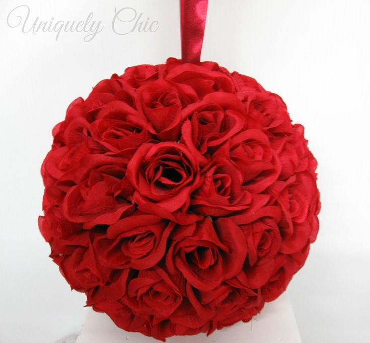 """This stunning red rose pomander is 9"""" and makes a beautiful decoration or centrepiece. Add in some gemstone or centres for that little added extra!  #rosebouquet #redrose #weddingaccessories #flowergirl #kissingball #roseball #pomander #decoration #weddings #etsy"""