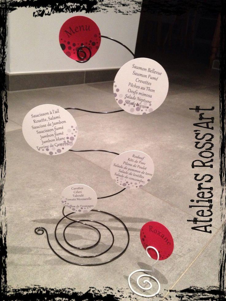 Menu mariage original fil aluminium bulle rouge noir et blanc : Autres papeterie par ateliers-ross-art