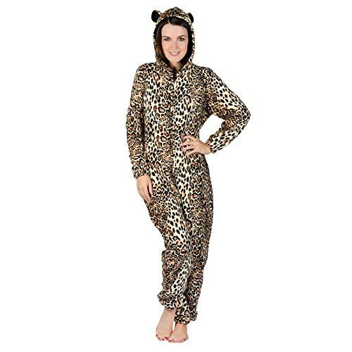Ladies Hooded Brown Leopard All In One Pyjamas Sleepsuit Onesie Nightwear  This fantastic all-in-one pyjama suit is perfect for lounging and  relaxing at home. It is extremely comfortable to wear and perfect for  keeping you warm and cosy on those dark frosty evenings.  Made from a soft, snuggly, fleece fabric; it features full length  sleeves and legs and a long zip on the front of the body. An excellent  birthday present or Christmas gift!  Available in X-Small (UK 6-8), S