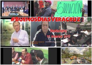 NOTICIERO y Video Columna #BUENOSDIASVERACRUZ 15 marzo 2017   1.- Rechaza LXIV Legislatura la reestructuración de la deuda del Estado.  2.- EN ESTE TENOR EL GOB. MIGUEL A. YUNES respondió:  3.- EN TANTO LA BANCADA PANISTA respondió de la siguiente manera  4.- PERO TAMBIÉN…Diputados se negaron al reordenamiento del transporte público.  5.-Habitantes de Córdoba realizan huelga de hambre, reclaman lotes.  6.-EN TANTO Xalapa tendrá una Vía Recreativa dominical en Murillo Vidal  7.- EN EL…