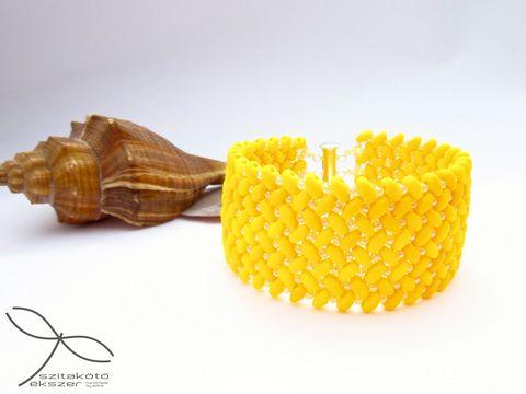 3200 Ft Halszálkás karkötő - matt kanári sárga, Ékszer, óra, Karkötő, Meska